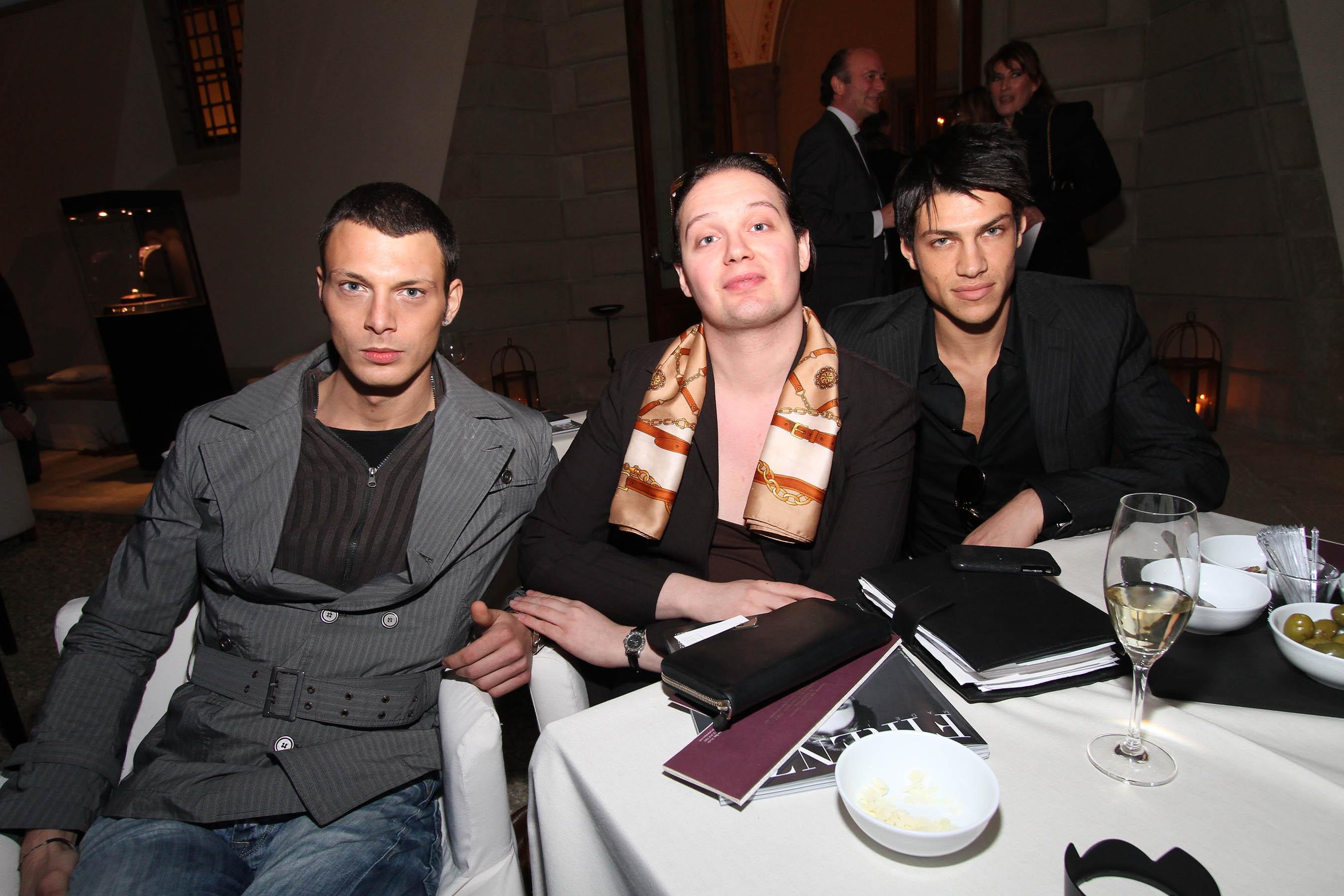 PRESSPHOTO Firenze, festa Firenze Magazine. Nella foto Alex Model con Nazareno Di Scalzo e Luciano Simeoni