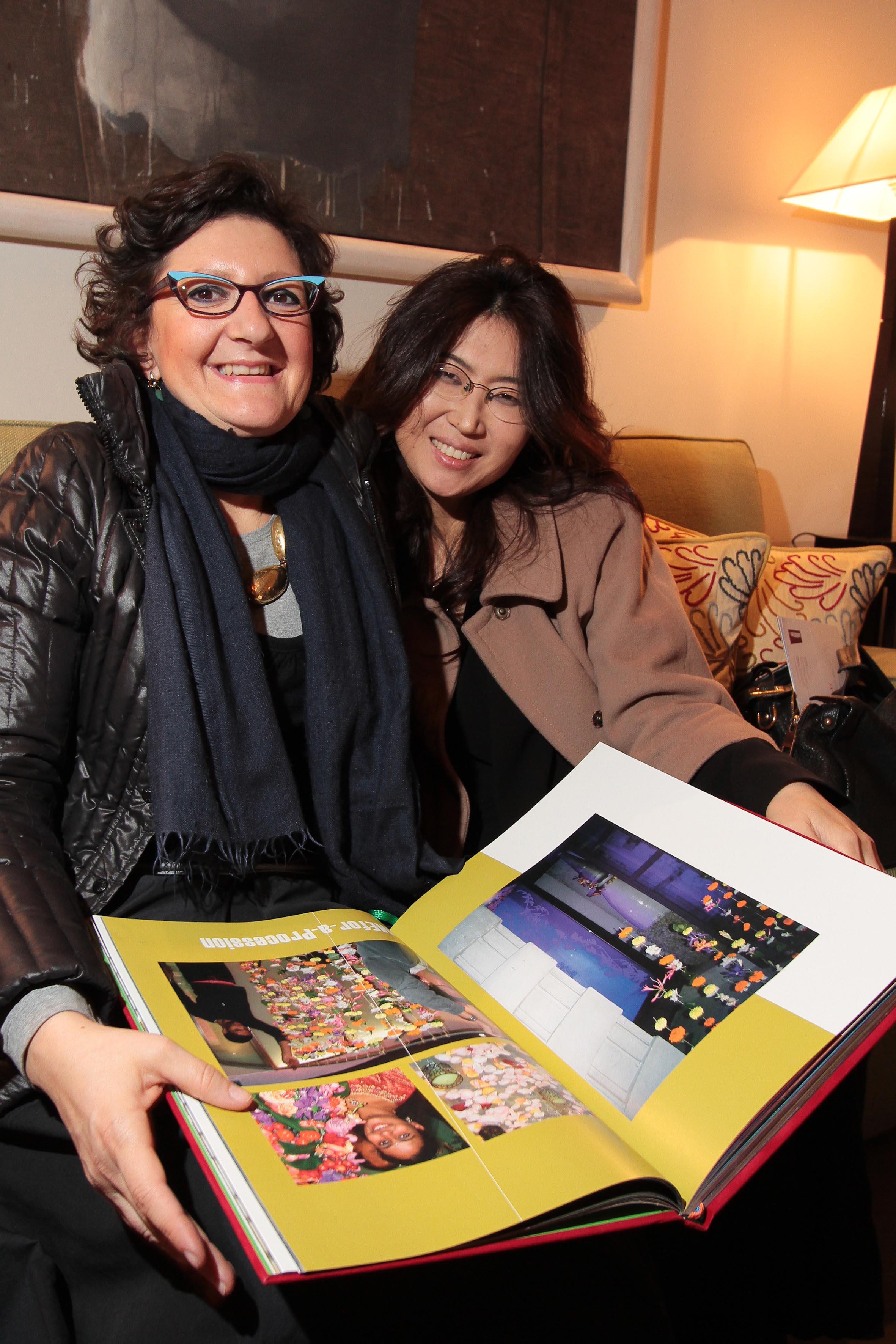 PRESSPHOTO Firenze, Hotel Savoy, inaugurazione Flower Shop Sebastian. Nella foto Paola Eletti e Kim Soo Hyoune Giuseppe Cabras/New Press Photo