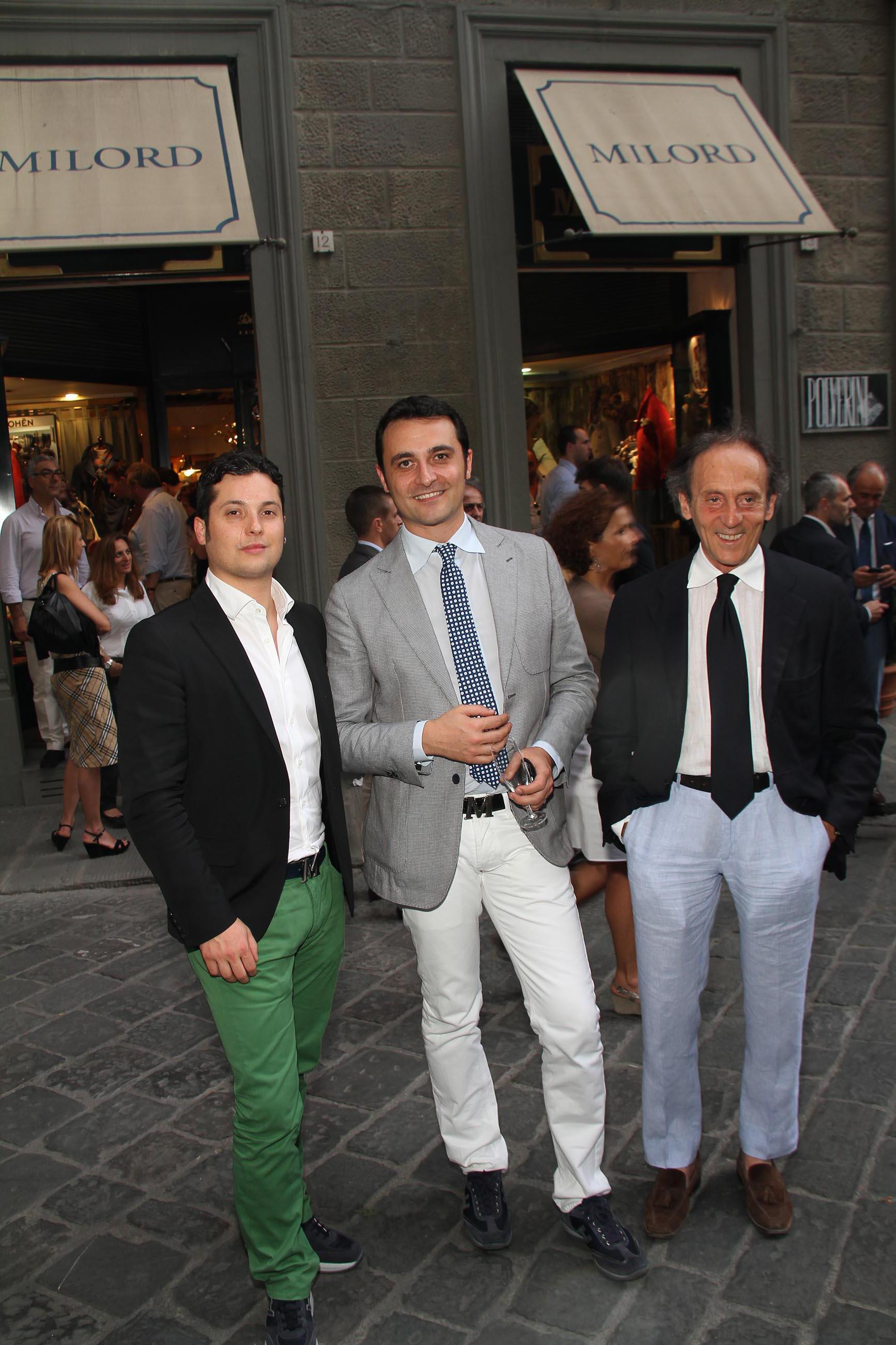 PRESSPHOTO Firenze, Evento Milord Aston Martin. Nella foto Gianluca Mastrolia, Romino Marzullo, Massimo D'Amato