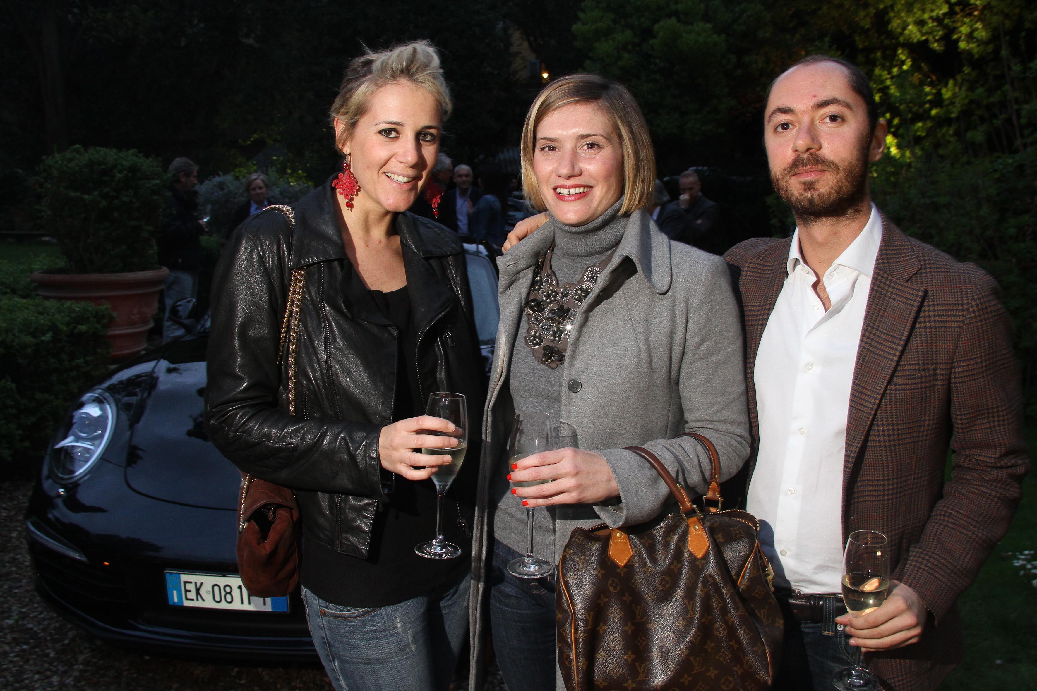 PRESSPHOTO Firenze Made in Tuscany,  presentazione nuova Porsche al Loft: Silvia Dall'Aglio, Chiara Benedetti e Niccolò Vannozzi
