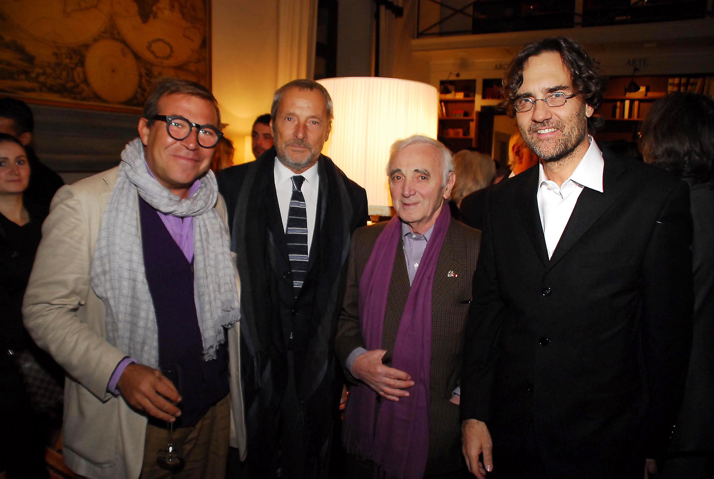 PRESSPHOTO Firenze, Cinema Odeon, Renzi assegna il Fiorino d'oro a Charles Aznavour, segue cena di gala a Palazzo Tornabuoni. Nella foto da sx Roberto Cicutto, Piero Maccarinelli, Aznavour e Francesco Martinotti