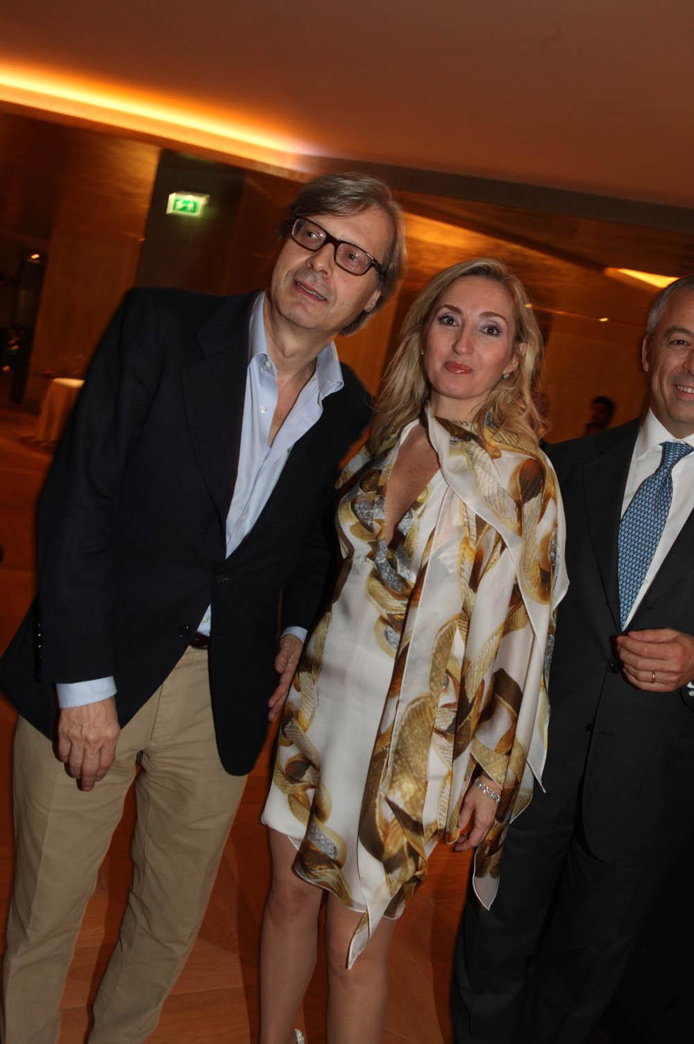 Milano, inaugurazione Rosa Grand, nuovo albergo dell Starhotel , foto Gianluca Moggi/NEWPRESSPHOTO. nella foto :Elisabetta Fabri , Vittorio Sgarbi