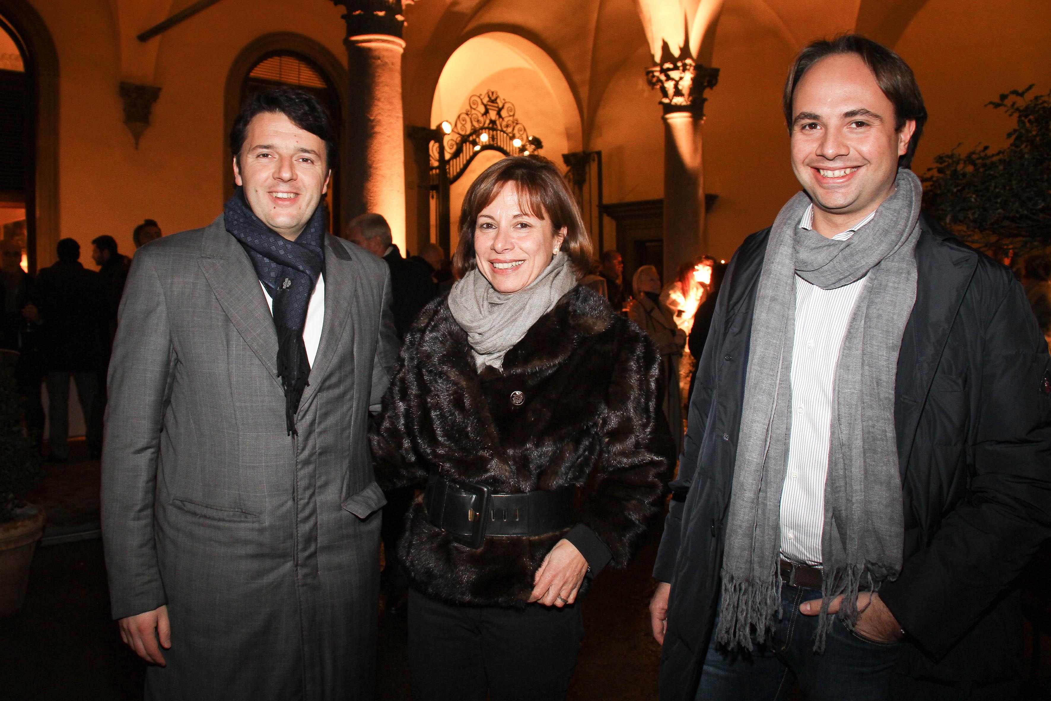 PRESSPHOTO  Firenze, Palazzo Antinori, festa Roy Rogers. Nella foto Patrizia e Niccolò Biondi con Renzi